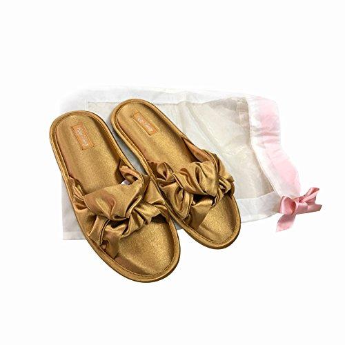 Image of RealFancy Open Toe House Slippers for Women Slipper Slide with Comfortable Memory Foam (M 262 mm, Golden)