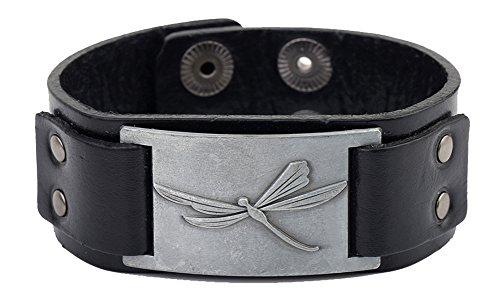 Dragonfly Cuff Bracelet - Lemegeton Vintage Victorian Dragonfly Leather Cuff Bracelet Women Men Jewelry