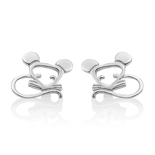 Mouse Jewelry - 925 Sterling Silver Open Tiny Little Baby Hamster Mouse Mice Pet Lovers Post Stud Earrings 9 mm