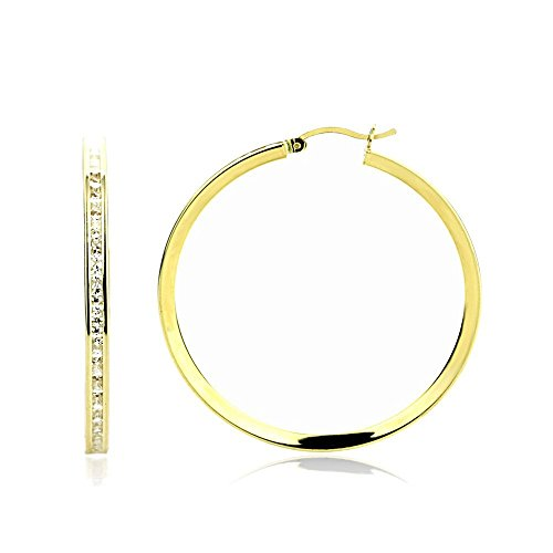 14K Yellow Gold 3mm Intriguing Princess CZ Stone Channel Set Eternity Round Hoop Earrings - Round Stone 3 Ring 40