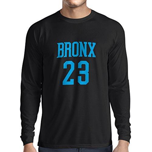 lepni.me Camiseta de Manga Larga para Hombre Bronx 23 - Moda de Estilo Callejero (Large Negro Azul)