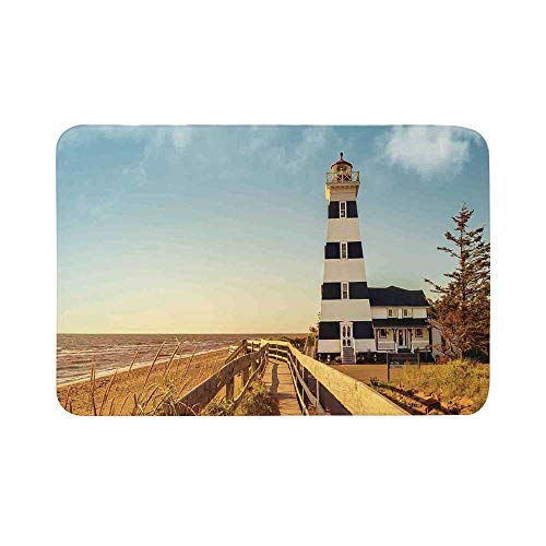 C COABALLA Lighthouse Decor Durable Door Mat,Sandy Coastal Beachside with Lighthouse Sea Waves Wind Wooden Fence Pine Tree Weeds Clouds for Living Room,17.7