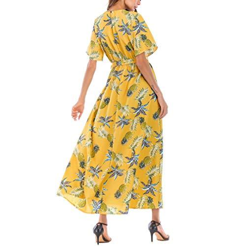 de Maxi Femmes Robe de Jaune Robe V de Robe Tunique Col Plage Imprime GongzhuMM Robe Courte Longue en L'ananas Soire Cocktail Manches Robe Divis 4aqxnwZdpq