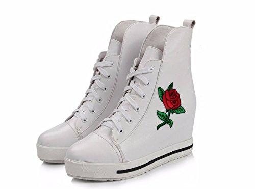 SFSYDDY-En El Otoño De Aumento De Zapatos De Mujer La Versión Coreana De Los Zapatos Gruesos Con Ayuda De Alta Zapatos Cabeza Capas Kraft Profunda Boca Solo Zapatos Blanco Bordado Con 39. Thirty-five