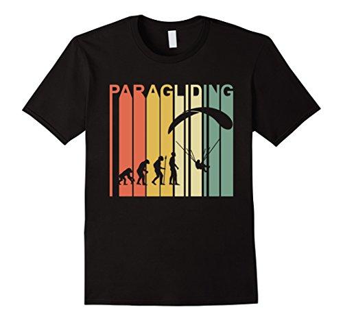 Mens Vintage Retro Paragliding Evolution Special T-Shirt Medium Black