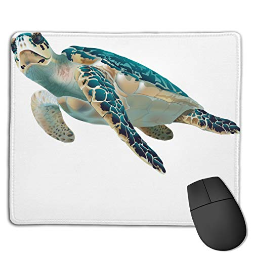 FriendEver Turtle Clipart Fish Mouse Pads,Non Slip Mouse Mat Pad,Washable Stitched Edge Mousepad for Gaming,Computer,Laptop,7inX8.7in ()