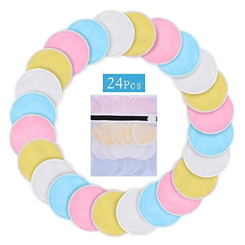 24 PACK Reusable Makeup Remover Cotton Pads-Washable Natural Organic Bamboo Cotton Rounds, Facial Soft Toner Pads with Laundry Bag (4 Colors)