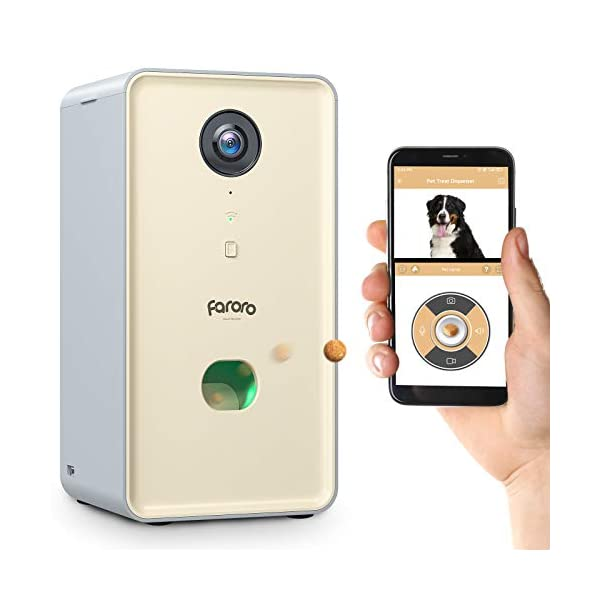 Faroro Dog Camera Treat Dispenser 1080P FHD Night Vision 2.4G WiFi Pet Tossing Camera with 2-Way Audio for Monitoring…