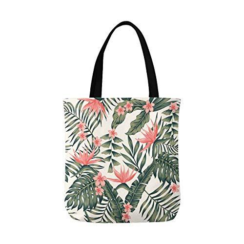 InterestPrint Palm Leaves Trees Flowers Bird of Paradise Canvas Tote Bag Handbag Shoulder Bag for Women Girls