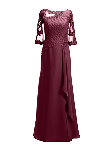 ALAGIRLS Womens Long Prom Dresses Applique Chiffon Evening Party Gowns With Half Sleeves Burgundy US2