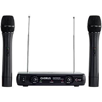 centerstage chorus dual wireless handheld microphone system easy setup karaoke. Black Bedroom Furniture Sets. Home Design Ideas