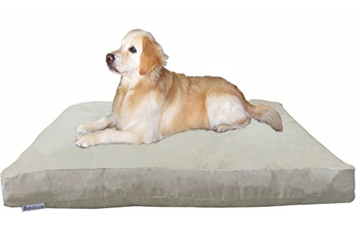 Dogbed4less XXL Extra Large Memory Foam Dog Bed Pillow with Waterproof Liner and Khaki Microsuede Cover for Large Pet 55X37 Inches by Dogbed4less