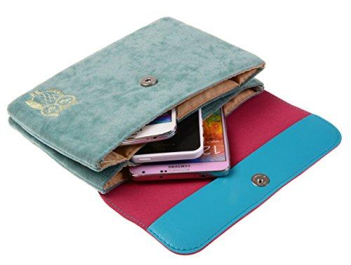 Horizontal Print Skyblue Pouch TM Cotton GOLD Owl Cellphone KISS Mini wfS6IqS