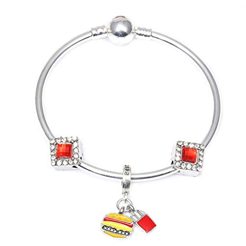 (Fashion Femme Burger and Fries Beads Pan Bracelets Bangles Jewellery Charm Bracelet For Womens Gift Red 19cm)