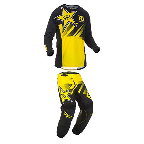 Fly Racing 2019 Kinetic Rockstar Jersey and Pants Combo Yellow/Black Large,32