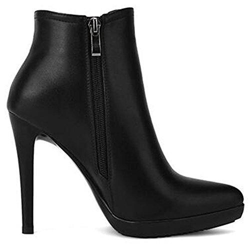 Summerwhisper Women's Dressy Pointed Toe Stiletto High Heel Platform Side Zipper OL Ankle Booties Black 6.5 B(M) US by Summerwhisper (Image #3)