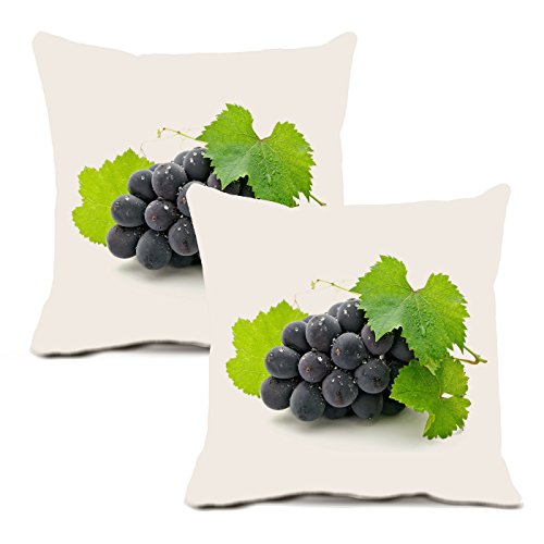 Grape Pillow Cover By Vroselv: Soft Throw Cushion Cover Case With Delicious Banana Fruit And Whit Background – Pack Of 2 Washable Square Pillow Cases 18x18 Inches Large - Made Of 90% Cotton