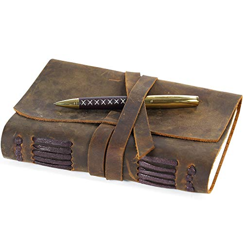 Leather Journal Travel Diary, Handmade Vintage Writing Bound Notebook For Men For Women Antique Soft Rustic Leather 5 x 7 - Quality Unlined Paper Best Gift for Art Sketchbook Notes - Pen-holder + Pen ()