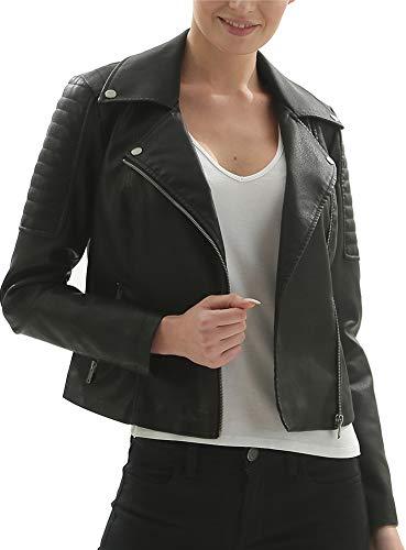 (Fahsyee Women's Faux Leather Jackets, Zip Up Motorcycle Short PU Moto Biker Outwear Fitted Slim Coat Black)