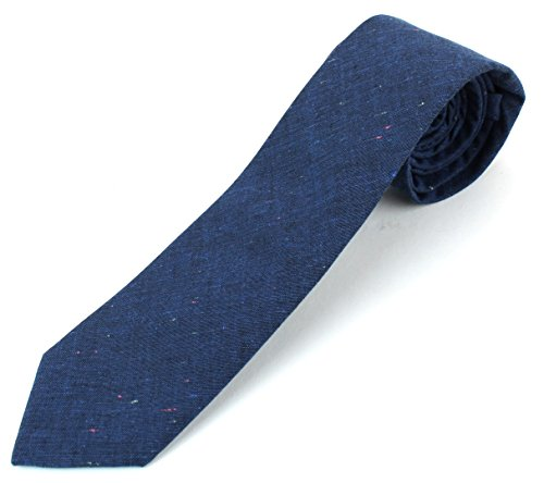 Men's Cotton Skinny Necktie Tie Rainbow Nep Dark Color Pattern - Deep Blue (Dark Pink Gingham)