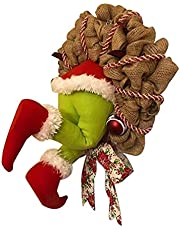 Fancyes Thief Christmas Wreaths How The Grinch Stole Burlap Wreath Jute Rope Elf Body Christmas Burlap Wreath for Outdoor Indoor Decoration Valentine's Day