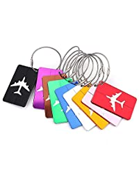 Tebery Travel Luggage Tags Suitcase Tags Travel ID Bag Tag Airlines Baggage Labels with Key Ring (Pack of 9)