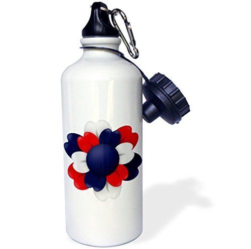 Wild Bramble Anne Marie Baugh Patriotic Red White And Blue Flower Illustration Sports Water Bottle 21 Oz Twin Sides