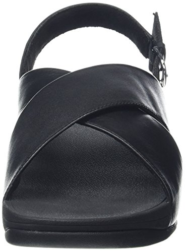 Fitflop Lulu Cross Back-Strap Sandals-Leather, Sandalias con Punta Abierta para Mujer Negro (Black 001)