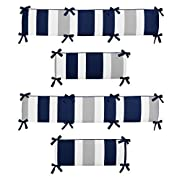 Sweet Jojo Designs Navy Blue and Gray Stripe Collection Crib Bumper