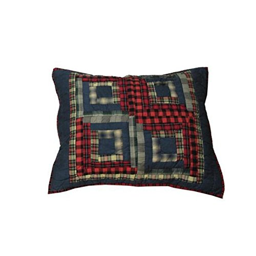 Log Red Cabin (Patch Magic 27-Inch by 21-Inch Red Log Cabin Pillow Sham)