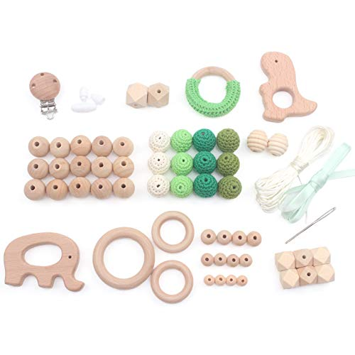 Teething Kit Baby Wooden Beads Rings Supplies, Make Your Own Baby Chew Jewelry Teether Necklace Pacifier, 61pcs, Green