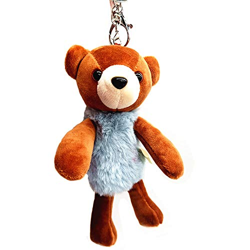 OldFriend Fragrance Teddy Bear Keyring Keychain Plush Stuffed Animal Toy Charm Backpack Clip (Light Blue)