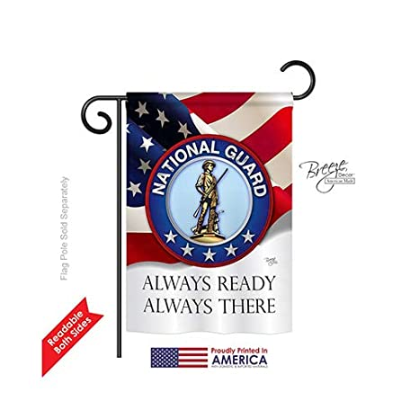Breeze Decor G158020 National Guard Americana Military Impressions  Decorative Vertical Garden Flag 13