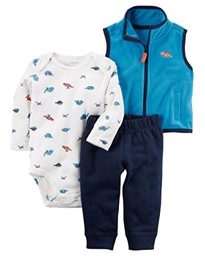Carter's Baby Boys' 3 Piece Dino Print Little Vest Set 3 Months