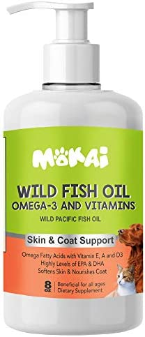 MOKAI Wild Fish Oil Liquid with Pump for Dogs and Cats Omega 3 Fatty Acids EPA DHA and Vitamin E A and D3 for Skin Coat Allergy Control Joint Function