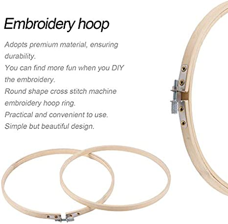 Wooden Color /& 20cm Eduton 6 Different Size Round Shape Handy Wooden Cross Stitch Machine Embroidery Hoop Ring Bamboo Sewing Tool Accessory