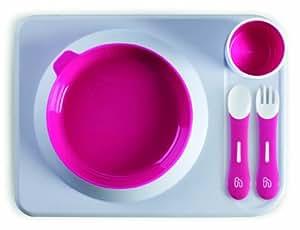 Hoppop 31130010 Atablo - Juego básico de utensilios infantiles: bandeja, plato, vaso, cuchara y tenedor (5 piezas), color rosa y blanco