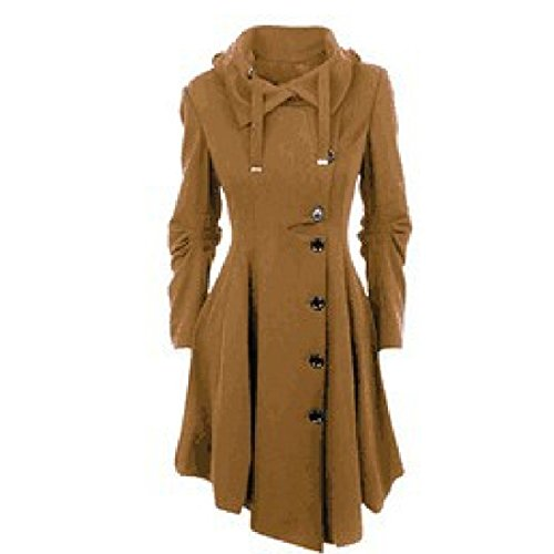 faeeddc4d ADOMI Women's Long Hooded Thickened Down Coat with Fur Trim Coffee S ...