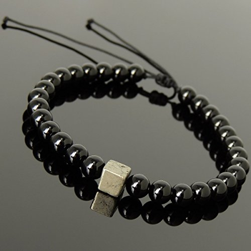 Men and Women Adjustable Braided Drawstring Bracelet Handmade with 6mm Matte Black Onyx and 6mm Natural Pyrite Cube (Black Onyx Cube Beads)