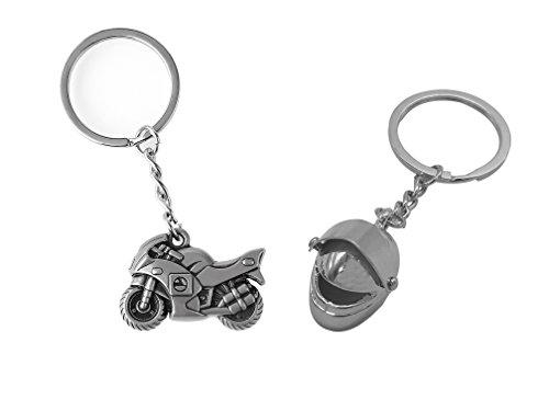 SunPower Key Chain Fob of 3D Motorcycle Sportbike with Helmet Keychain Motor Keyring Car Keychain Set Automotive Charms(SPK005) ()