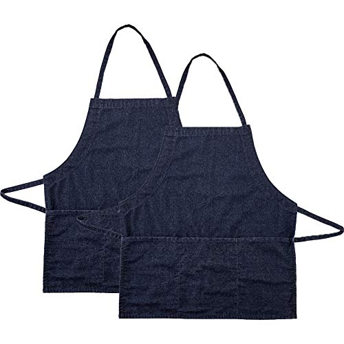 Kitchen Bid Apron, Denim Jean Aprons with 3 Pockets, Professional Grade Chef Cooking Apron for Women Men in Coffee Baking Bar, Restaurant and Studio (2 Pack) from COVAX