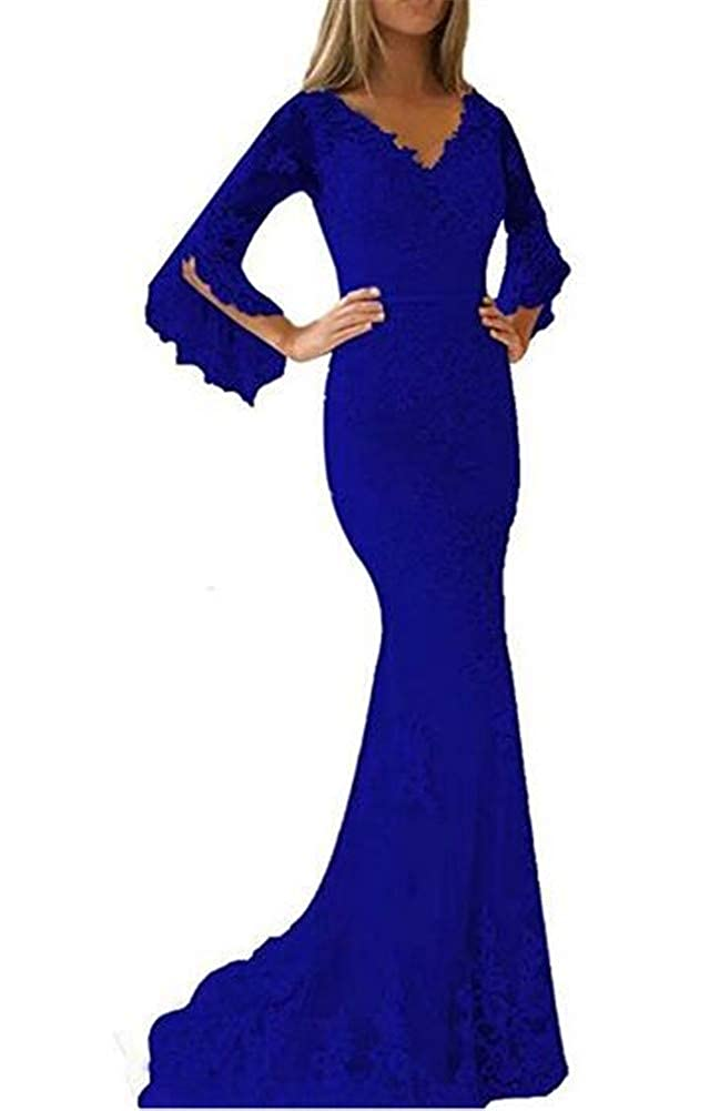 Aiyue Yishen Womens Double V Neck Flare Sleeves Prom Dress Lace Applique Mermaid Long Evening Gowns