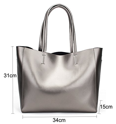 Silver Bag Women Leather Laptop and Tote Handle Handbags 14 Shoulder Red 2017 Soft Ladies Genuine Bags Wine Fashion Purses Bags in SQLP Fit RwqCgdw