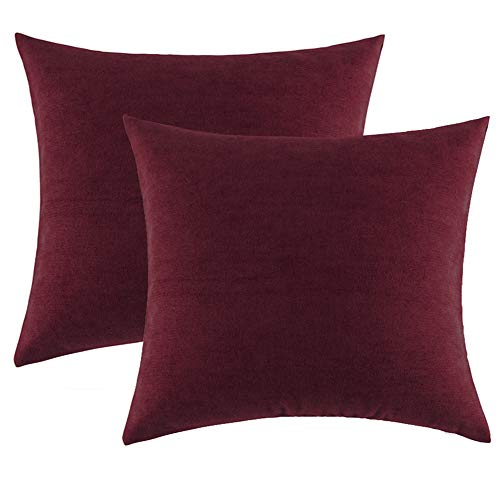 Accents Burgundy - Throw Pillows Covers 18 x 18 for Couch Bed,Accent Set of 2 Burgundy Red Velvet Corduroy Soft Throw Pillows for Spring Summer,Home Decorative Square Cushions Cases Shams Pillowcases Farmhouse,45 x 45CM