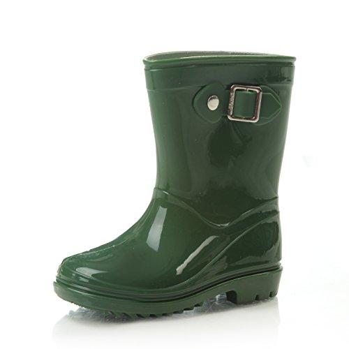 (Silky Toes Boys Girls Rain Boots for Kids, Waterproof Toddler Little/Big Kids Classic Wellies (2 US Little Kids, Green))