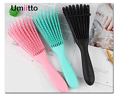 Detangling Brush for Knots Detangler Hair Textured 3a to 4c Kinky Wavy Curly Wet Thick Long Dry Hair, Easy to Clean Green Pink 2pcs (Pink&Black)