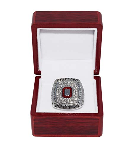 OHIO STATE UNIVERSITY BUCKEYES (Coach Jim Tressel) 2010 BIG TEN ROSE BOWL CHAMPIONS (Vs. Oregon Ducks) Collectible Replica NCAA Football Silver Championship Ring with Cherrywood Display Box