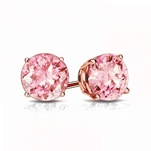 9mm Rose Quartz Stud Earrings in 14k Rose Gold (3.7 CT.TW.)