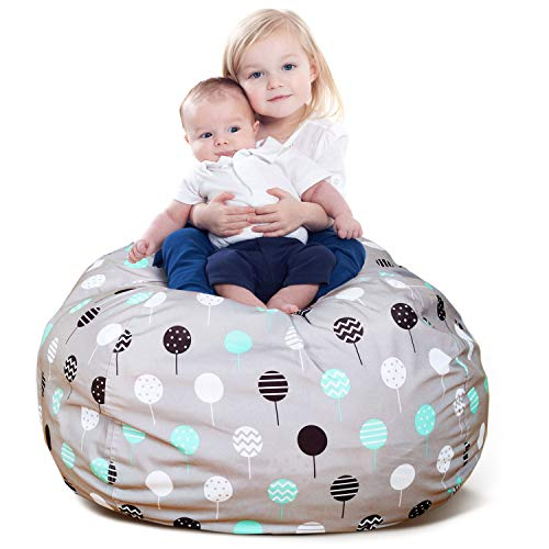 BROLEX Extra Large 38'' Stuffed Animals Bean Bag Chair Cover-100% Polyester Kids Toy Storage Zipper Bags for Unisex Boys Girls Toddlar, Ballon Design
