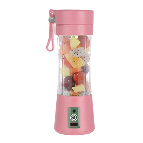 Portable Juicer Bottle - Personal Blender USB Charger Fruit Mixing Machine, Mini Fruit Juice Extractor, Electric Rechargeable Mixer Cup 380ml with Cable (Pink)